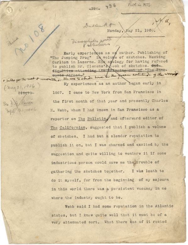 full page from dictation of 21 May 1906