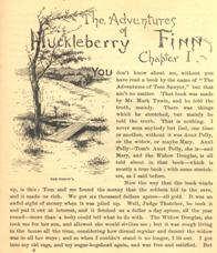 Image of Chapter 1 of Huckleberry Finn.
