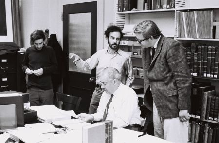 Victor Fischer, Buddy Stein, Paul  Baender, and (seated) Claude Simpson, inspector for the CEAA, August 1968 in the Mark Twain Papers, Berkeley.